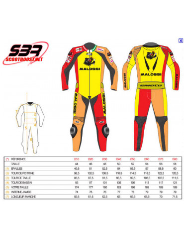 Combinaison cuir Malossi / Gimoto racing T.52