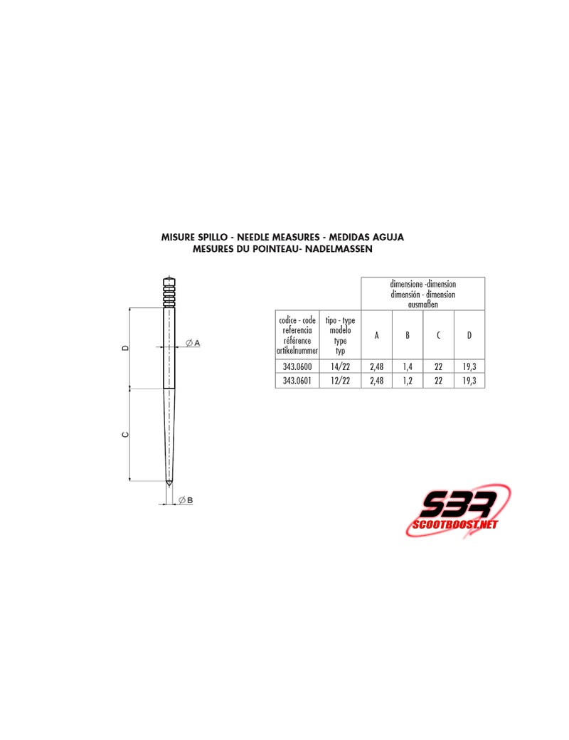 Aiguille carburateur Polini CP / CP Evolution 12/22
