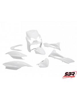 "Kit carénages STR8 ""Blanc"" 9 pièces MBK Mach G / Yamaha Jog"