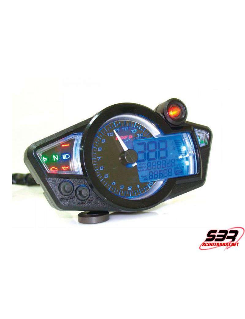 Compteur digital Koso RX 1N GP Style Noir / Bleu