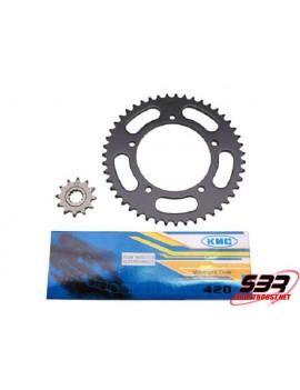 Kit chaine KMC Aprilia RS50 99 à 02 pas 420 12x47