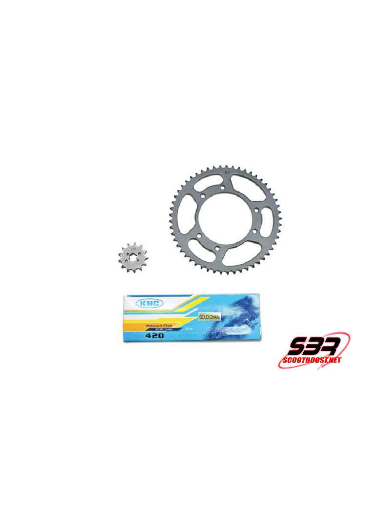 Kit pignons chaine KMC Derbi Senda 2000 à 2001 pas 420 13x53