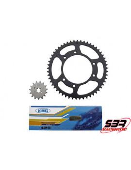 Kit pignons chaine KMC Derbi Senda 2000 à 2001 pas 420 15x53