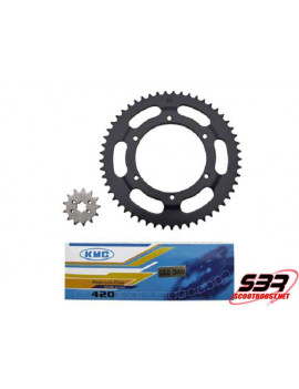 Kit pignons chaine KMC Derbi GPR 1997 à 2003 pas 420 13x53
