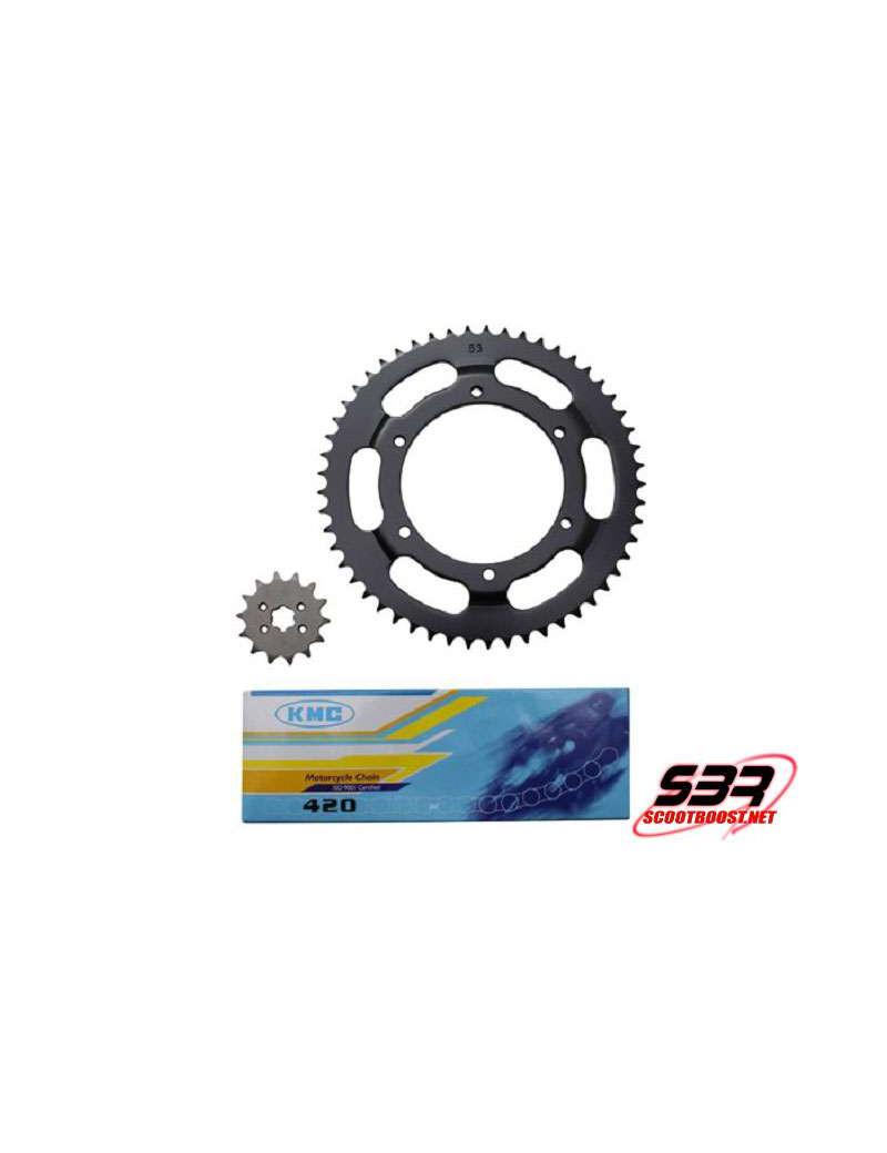Kit pignons chaine KMC Derbi GPR 1997 à 2003 pas 420 14x53