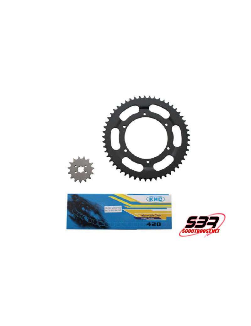 Kit pignons chaine KMC Derbi GPR 1997 à 2003 pas 420 15x53