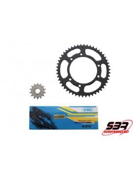 Kit pignons chaine KMC MBK X-Limit  / Yamaha DTR  2003 à 2006 pas 420 14x50
