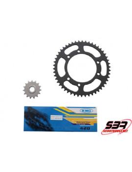 Kit pignons chaine KMC MBK X-Limit / Yamaha DTR 2003 à 2006 pas 420 15x50